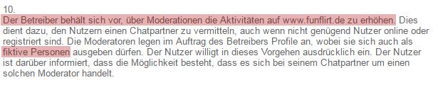 Auszug aus den AGB von Funflirt